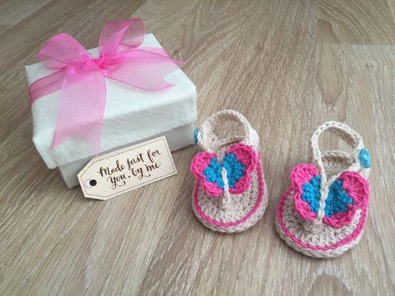 Gehaakte Baby meisje Butterfly Infradito  Baby door StefaniaDA2015