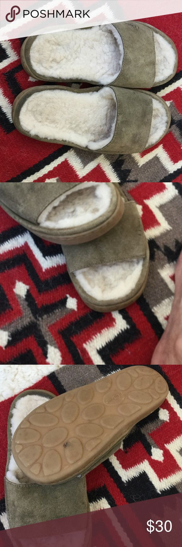 LLBean sheepskin shearling slippers 8 Dusty army green suede with genuine sheepskin interior. Bit of wear in great toe area, see photo. Rubber soles. No other wear. llbean Shoes Slippers