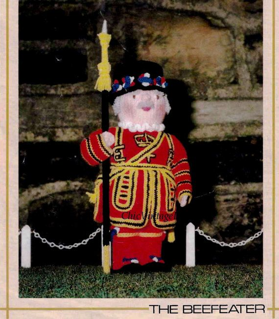 Knitted Soft Toy Pattern ... Beefeater Doll by ChicVintagePatterns