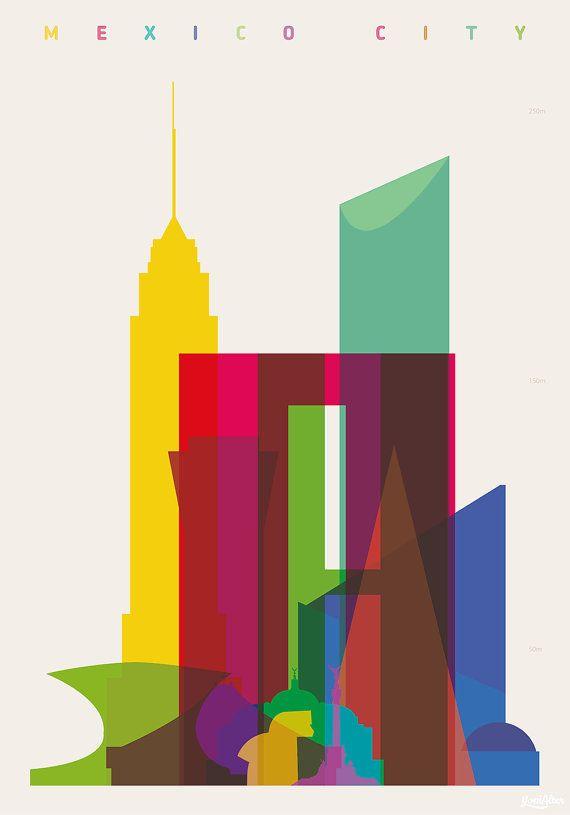 Shapes of Mexico City art print por DesignedbyYoni en Etsy. Must get!!!