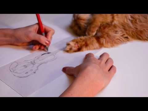 Step by step, speed drawing of electric violin by Oana Unciuleanu. Time ...
