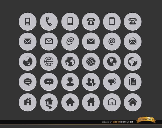 Here is a set with 30 icons for communications and internet stuff in black color within grey circles; here you have all kind of telephones, letter envelopes, earth globes, chat clouds and home icons. Use it in menus for websites, or in contact section in printed material. High quality JPG included. Under Commons 4.0. Attribution License.