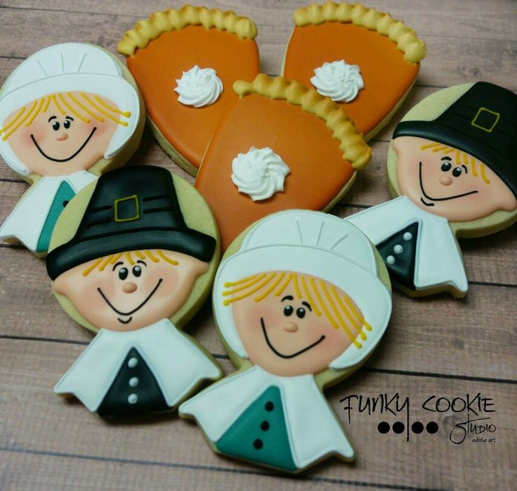 Jill FCS :  Thanksgiving.   Pilgrims.   Slice of pie.