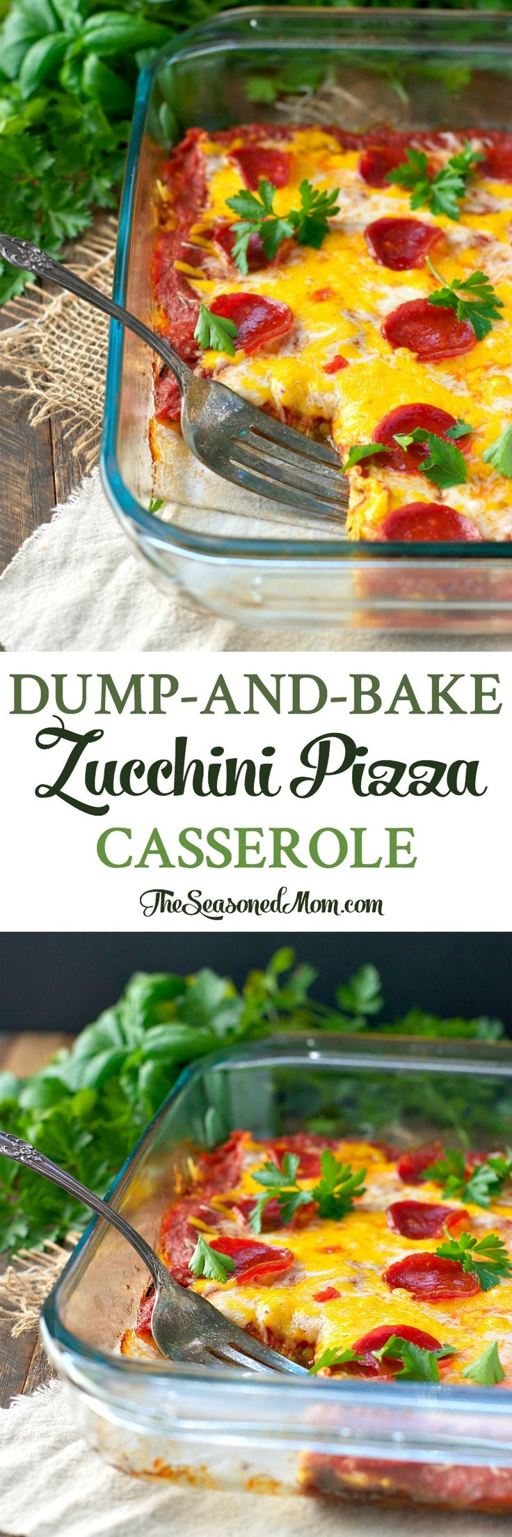 Just 10 minutes of prep for this easy low-carb dinner: Dump-and-Bake Zucchini Pizza Casserole. Perfect gluten free, low carb, freezer meal to use the spiralizer!