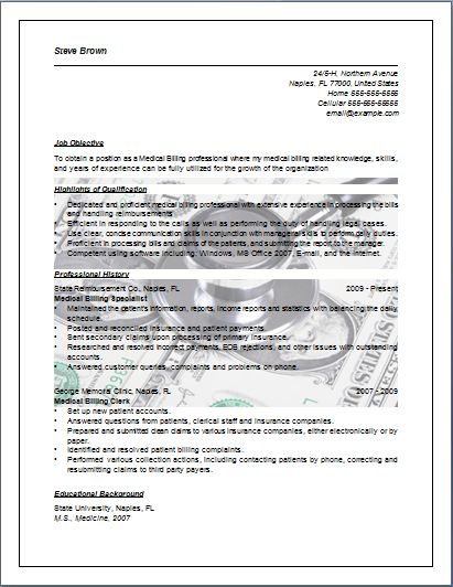medical billing resume