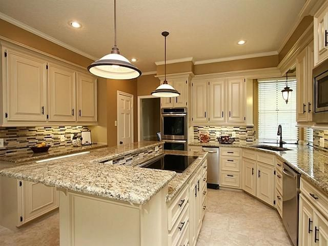 Santa cecilia granite white cabinets backsplash ideas for Best brand of paint for kitchen cabinets with aqua bathroom wall art