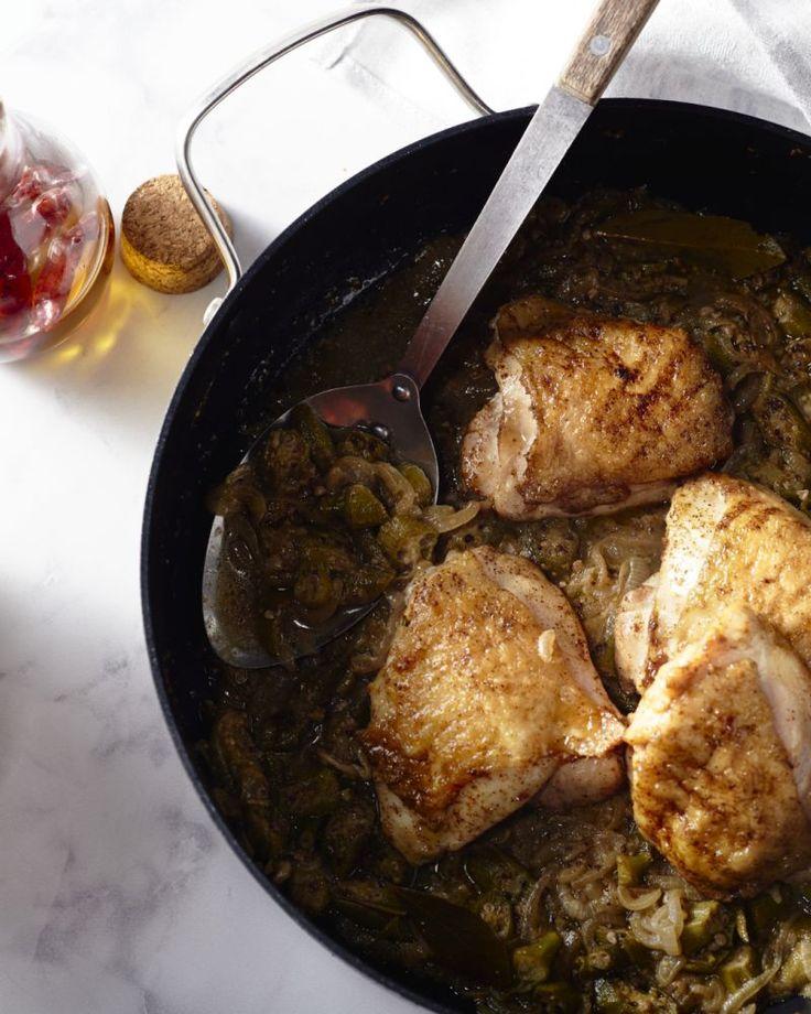 Een heerlijk authentiek recept voor het Senegalees stoofpotje kip yassa met okra.