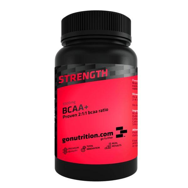 BCAA+ - GoNutrition - Beneficios Chave - Pode atrasar o aparecimento da fadiga muscular. - Promove o desenvolvimento e a recuperação muscular. - Evita a ruptura do tecido muscular. - Rácio de 2:1:1.