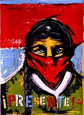 Malaquias Montoya - Mujer zapatista/Zapatista Woman  1998  Lithograph