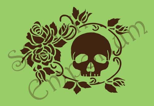 Rose Vine and Skull Stencil  Not just the same run of the mill stencils..... something a little bit different.    A delicate, re-usable stencil,
