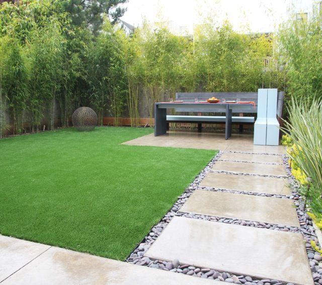 Artificial turf next to pavers | Small backyard design ... on Turf Backyard Ideas id=59334