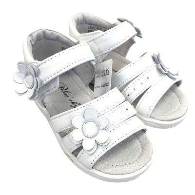 Girl Open Toe Leather Sandal in White 8115