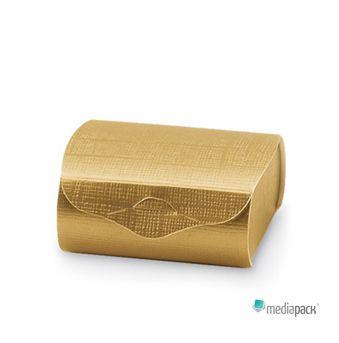 Pequena caixa dourada para colocação de vários objetos.