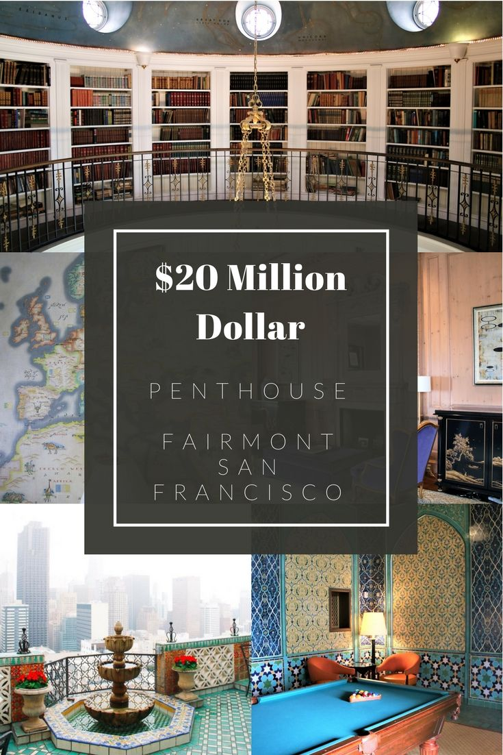 Fairmont Sa Francisco offers one of the best Penthouse Suites - coming in at 6,000 square feet and offering 3 bedrooms, billiards room, gourmet kitchen, living room. dining room, library, and and outdoor terrace with sweeping views of the city.