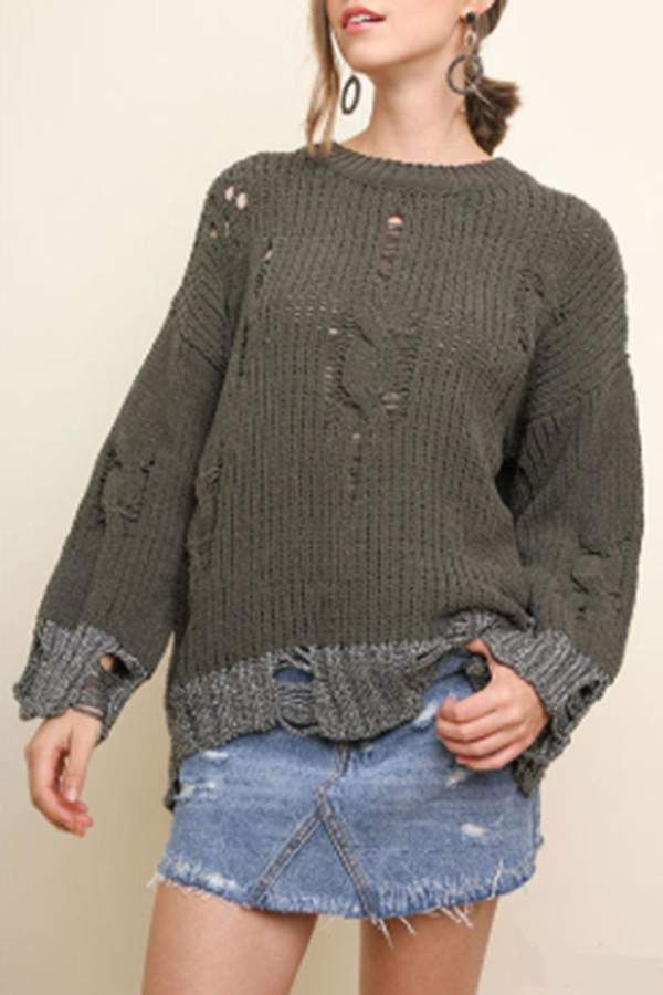 9d83b281c  64.00 - Umgee USA Distressed Chenille Pullover - Long sleeve ...