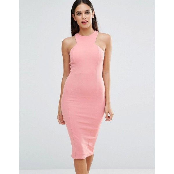 Club L Racer Front Midi Dress In Crepe ($31) ❤ liked on Polyvore featuring dresses, pink, midi body con dress, pink dress, bodycon midi dress, crepe dress and tall dresses