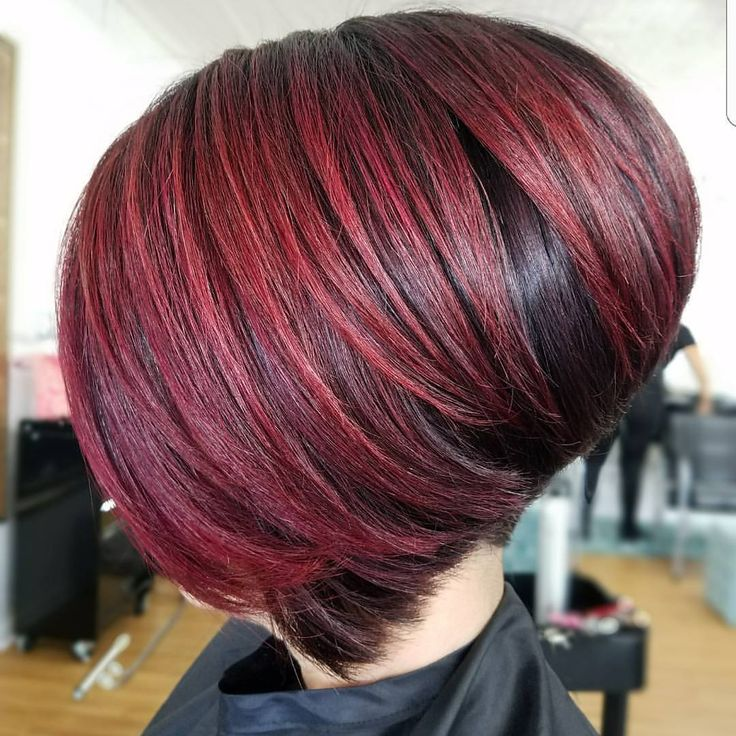 Stacked bobbed, finished off with @joicointensity ruby red glaze .....CHERRY COLA Pefection !! 💕💕 all credit to @hairbynathi To have your hair featured please tag @bobbedhaircuts #bob #bobhaircut #stackedbob #fantasyhair #aline #stackedaline #invertedbob #girlybobs #redhair #redhead #roottouchup #joicointensity #rubyred