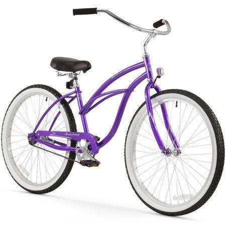 26 inch Firmstrong Urban Lady Single Speed Women's Beach Cruiser Bike, Purple