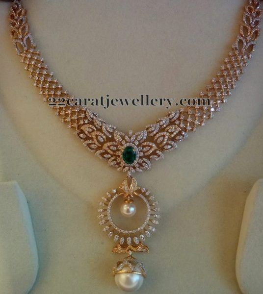 Diamond Set with Chandbali Design Pendant