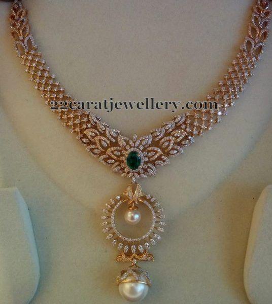 Diamond Set with Chandbali Design Pendant