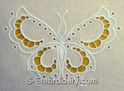 10439 Butterfly cutwork lace machine embroidery