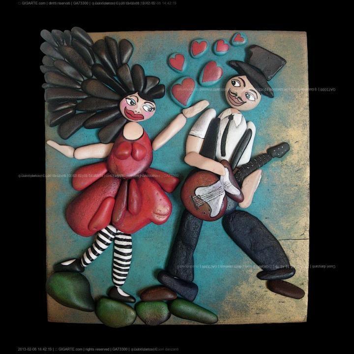 Michela Bufalini, quadri di pietra / pebble art - ... @Gigarte.com...Serenade of love!!