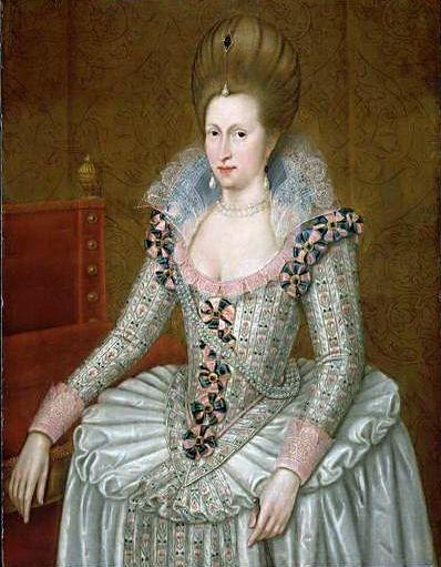 Ana de Dinamarca. Fue reina consorte de Inglaterra y Escocia por su matrimonio con Jacobo VI de Escocia. http://www.mujeresenlahistoria.com/2012/11/tres-coronas-para-una-reina-ana-de.html