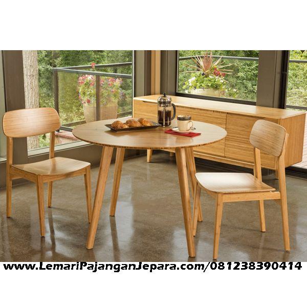 Jual Kursi Makan Kayu Jati Minimalis merupakan Produk Mebel asli dari Jepara dengan Desain Meja Minimalis Bundar Dan Kursi MInimalis Jati Cafe