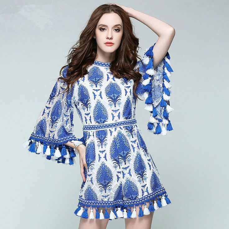 [Pre Sale] 2017 Spring Blue and White Porcelain Holiday Tassel Embroidery Playsuits Juniors Match Long Sleeve Romper