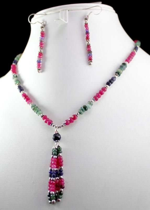 112ct Silver 925 Ruby Emerald Sapphire Gemstone Jewlery Necklace Earrings Set(kgr112ct),for further details,visit us at www.krishnagemsnj...