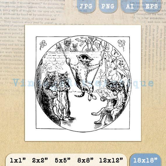 Digital Image Cat Swinging Download Cartoon by VintageRetroAntique