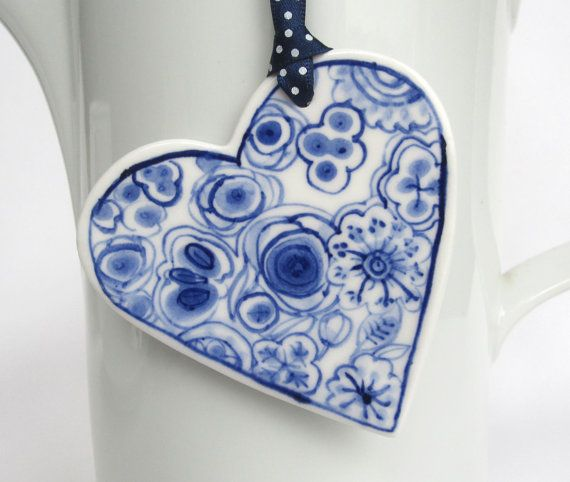 Porcelain  Heart   Blue Delft Wall by HarrietDamave on Etsy