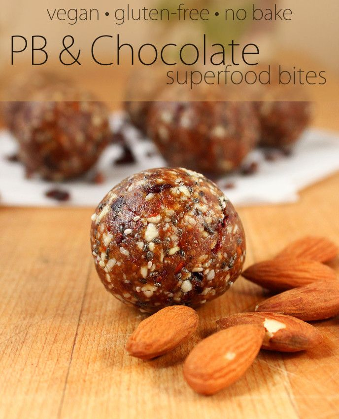Peanut Butter & Chocolate Superfood Bites {no-bake, gluten-free, and refined sugar-free - nut-free option provided} | ilovevegan.com