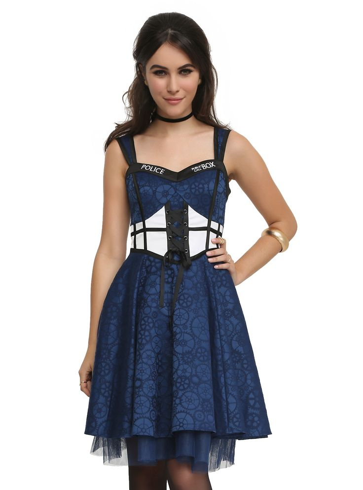 <p>A timeless dress from the world of <i>Doctor Who</i>. Corset-style top with sweetheart neckline, lace-up detail and public call box verbiage and graphics, allover Gallifreyen symbol jacquard, and tulle underlay.</p>  <ul> <li>97% cotton; 3% spandex</li> <li>Dry clean only</li> <li>Imported</li> </ul>