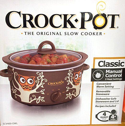Owl Themed Oval Crock Pot Slow Cooker - 4 Quart