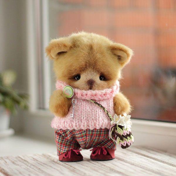 Sweet Teddy Bear with snowdrops   Тедди мишка с подснежниками — работа дня на Ярмарке Мастеров