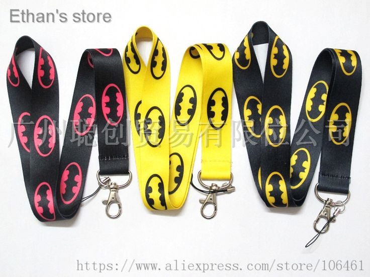 Kids Pink/Black/Yellow Batman Key Lanyard Wholesalers ID Badge Holders Cartoon Neck Straps Mix Color