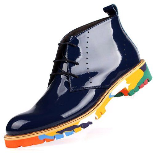 2014 New Martin Boots, Men's Shoes, Men's Boot, Leather Boot, Punk Comfortable Breathable Boots, Leather Business Shoes, Dress Boot 97-04 (6, Blue)