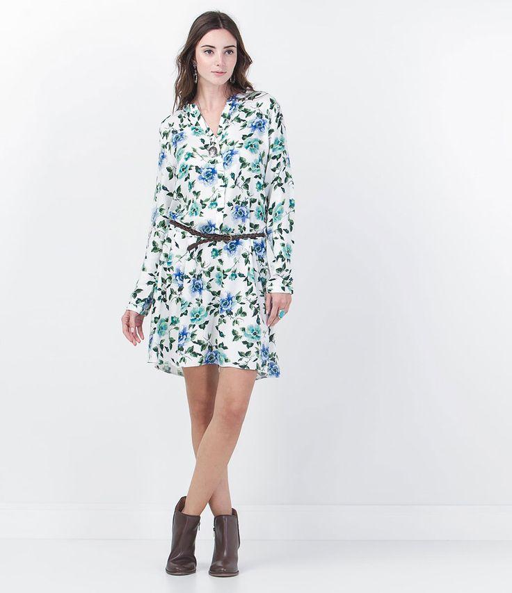Vestido feminino  Manga longa  Estampa floral  Marca: Marfinno  Tecido: viscose  Composição: 100% viscose  Modelo veste tamanho: P      Veja outras opções de    vestidos femininos.