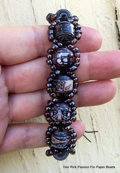 Paper Bead Bracelet Barcelona Black Waxed by PassionForPaperBeads, $24.99