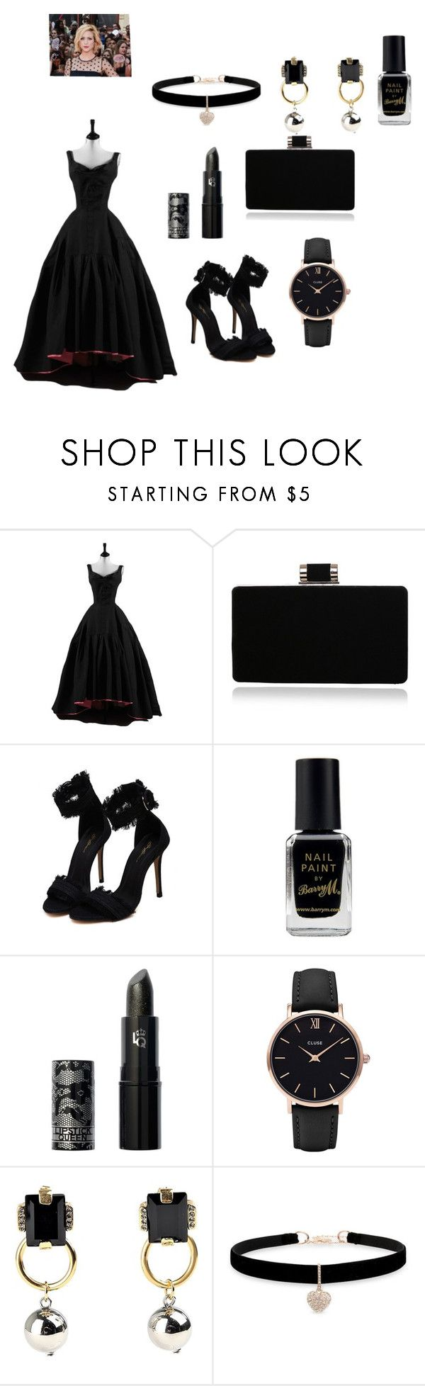 """love black"" by ayeshaghori ❤ liked on Polyvore featuring Barry M, Lipstick Queen, CLUSE, Marni and Betsey Johnson"