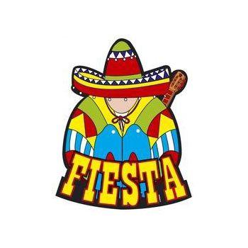 Mexicaans Fiesta decoratie bord. Decoratie bord met een afbeelding van een Mexicaan en de tekst Fiesta. Het bord is ongeveer 55 x 55 cm groot.
