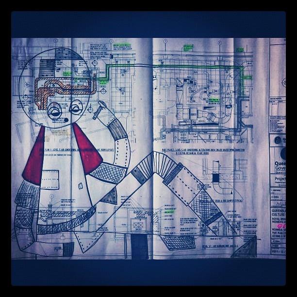#barek #robot#boy#painting#schematics#plans#posca #acrylic#ink by *Barek*, via Flickr