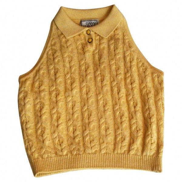Yellow Cotton Top GIANNI VERSACE (€13) ❤ liked on Polyvore featuring tops, yellow top, versace top, versace, brown tops and summer tops