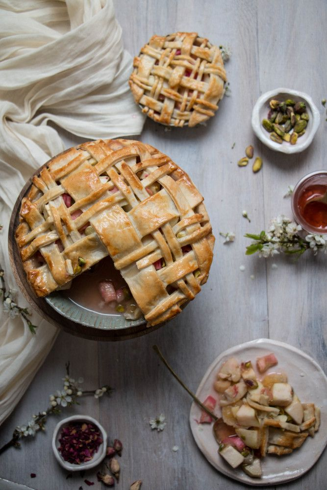 apple rose and rhubarb and pistachio pie