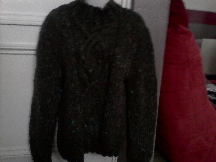 Pull col cheminée pour homme t. L tricoté main : Pulls, gilets, sweats par tricot-et-crochet-de-binouche