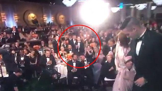 Andy Garfield gives his ex Emma Stone a standing ovation at Golden Globes as she wins best actress award