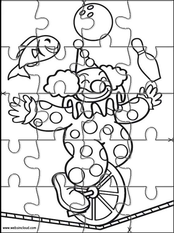 Printable jigsaw puzzles to cut out for kids Circus 16 Coloring Pages
