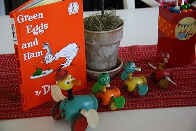 Very cute ideas for a vintage toy baby shower.    via partyloves.blogspot.com