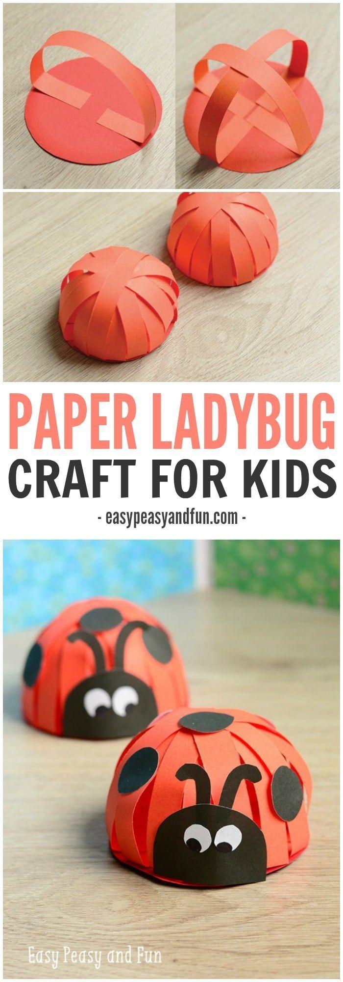 Adorable Paper Ladybug Craft, #knutselen, kinderen, basisschool, insect, lieveheersbeestje, zomer, papierstroken